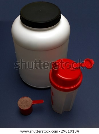 A Shaker used to mix milk with meal replacement products and subsequent drinking of the mix - stock photo