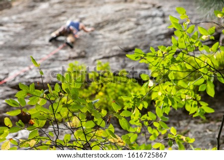 A shallow depth of field shot during an outdoor adventure. as a blurred man is seen scaling a limestone rock face with climbing rope trailing down