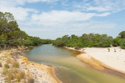 A shallow river in the dry season at Santos Luzardo National Park, in Apure state, in Venezuela