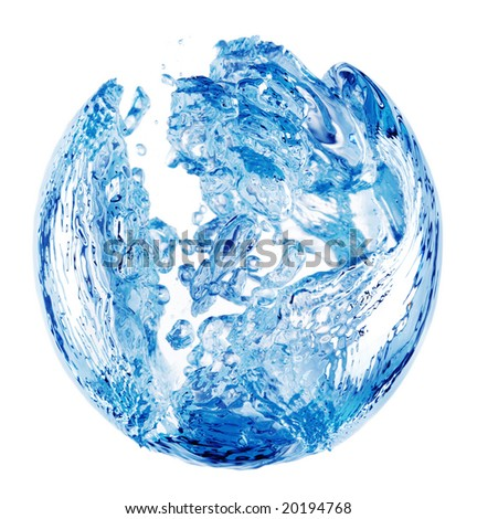 A shape formed due to a bubble trapped in blue water, isolated on a white background.