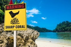 A sharp coral warning sign at a rocky beach. A stern warning for barefoot bathers. Tropical beach setting.