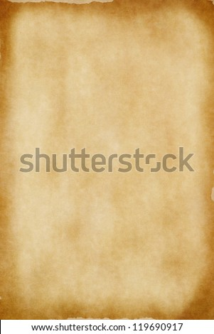 A sheet of yellowed. patchy parchment paper with darker, aged brown torn edges for background texture and copy space.