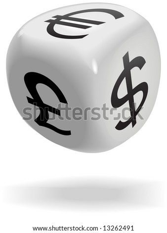 A shiny dice cube rolls currency symbols of money exchage game: dollar; euro; pound.