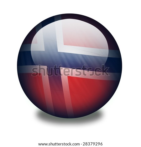 A shiny orb or sphere with a flag inside. Norwegian flag. Clipping path with the orb (without the drop shadow) included.