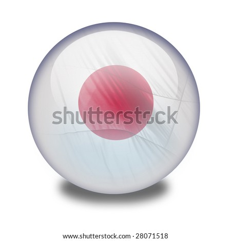 A shiny orb or sphere with the japanese flag inside. Clipping path with the orb (without the drop shadow) included.