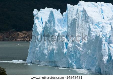 A ship approaching the Perito Moreno Glacier.  Los Glaciares National Park, Patagonia, Argentina.