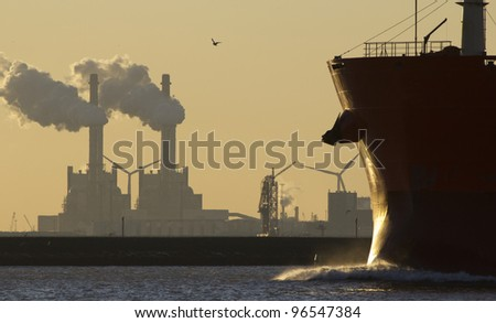 A ship entering the port of Rotterdam, Holland