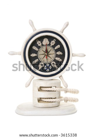 A ship helm in the shape of a clock over white