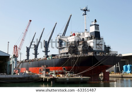 A ship in a dry dock