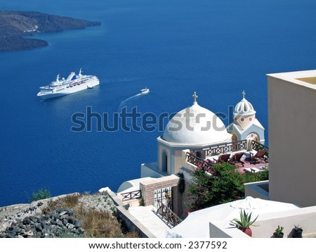 A ship in Santorini doing a cruise on the Greek Islands