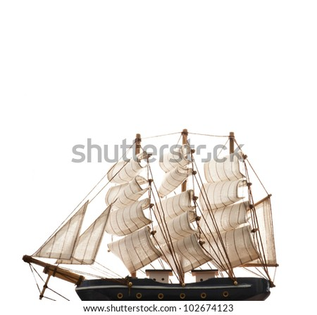A ship model isolated on white background. copy space on top