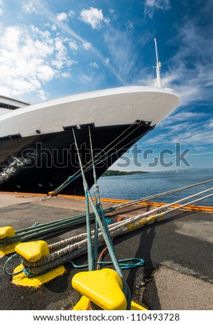 A ship moored in port, Oslo, Norway