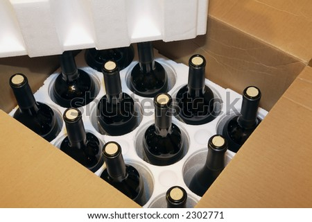 A shipment of a box of wine