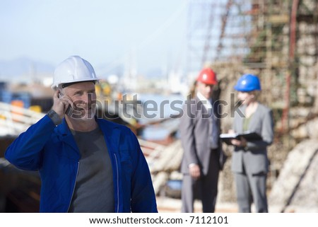 A shipping engineering team on survey