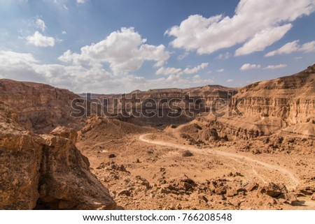 A shoot of the landscape near to the big makhtesh, taken in the Negev desert, Israel national trail. #766208548