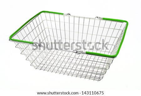 A shopping basket on a white background.