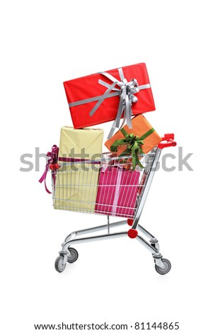 A shopping cart full with gifts isolated on white background
