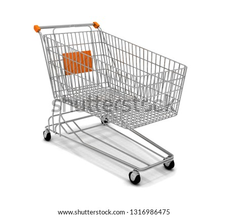 A Shopping Cart Isolated On White. 3D rendering illustration