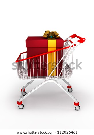a shopping cart with a big gift box with ribbon. Isolated on white background