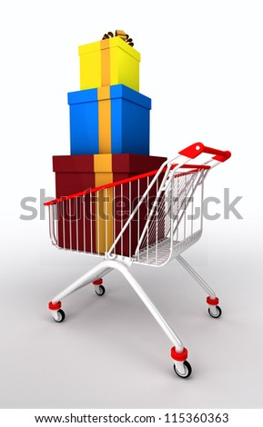 a shopping cart with a stack of gift boxes. Isolated on white background
