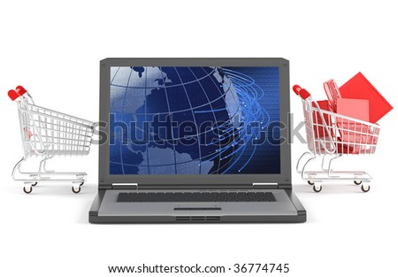 a shopping chart passing trough a laptop as concept for e-business isolated on white with clipping path
