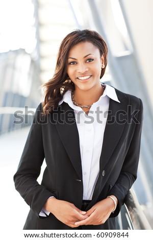 A shot of a beautiful black businesswoman outdoor