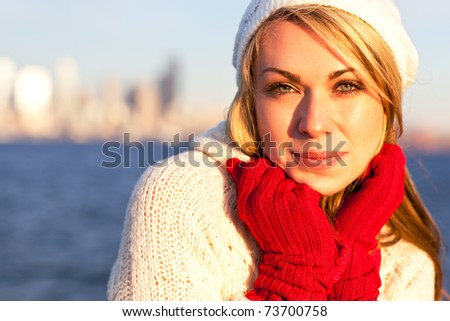 A shot of a beautiful caucasian winter woman outdoor