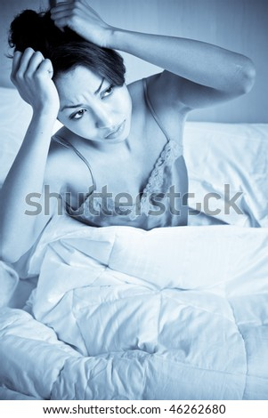 A shot of a black woman having an insomnia - stock photo