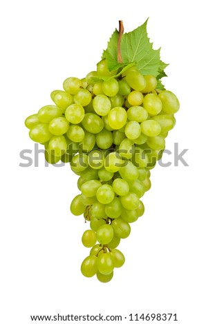 A shot of a bunch of green grapes, laying and isolated on white.