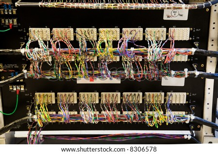 A shot of a bunch of network cables in a panel