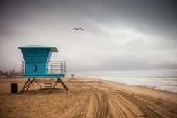A shot of a life guard tower during a storm in Huntington Beach.