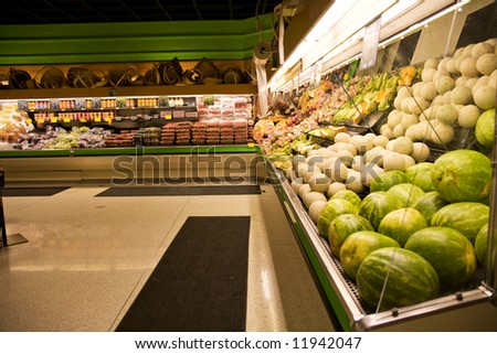 A shot of a produce section in a grocery store or supermarket