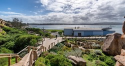 A shot of a scenic view of Granite Island and a wooden path leading to the sea of the Victor Harbor city, Australia