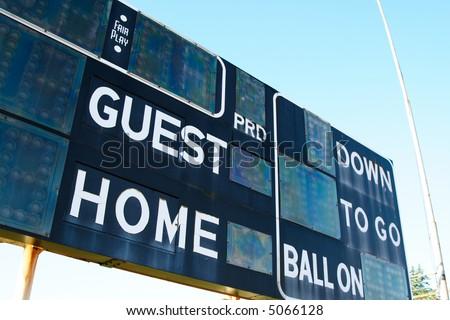 A shot of a score board on a football stadium