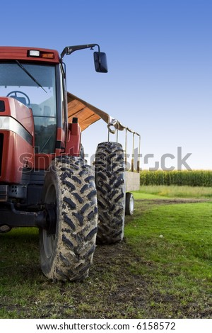 A shot of a truck used for harvesting on a corn field