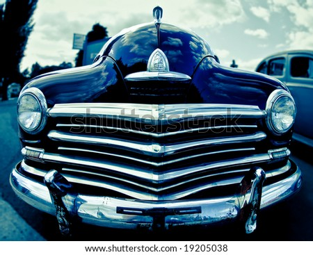 a shot of a vintage car from the front with a fish eye lens stock photo 19205038 shutterstock. Black Bedroom Furniture Sets. Home Design Ideas
