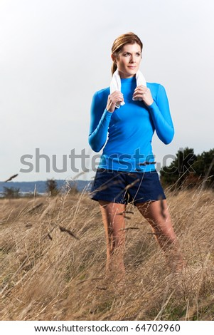 A shot of an active beautiful caucasian woman outdoor in a park