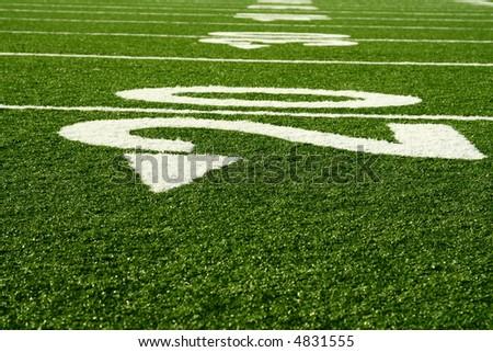A shot of an american footbal field
