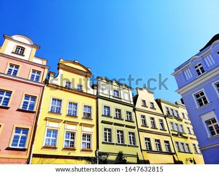 A shot of building facades in Jelenia Góra, Poland