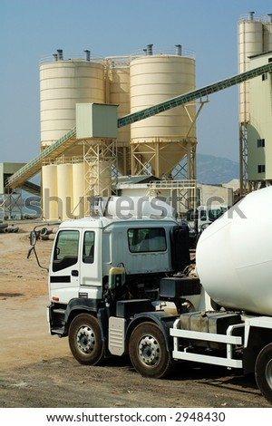 a shot of cement factory with mixer trucks stock photo. Black Bedroom Furniture Sets. Home Design Ideas