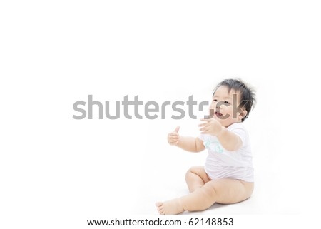 A shot of cute baby looking for hug, isolated