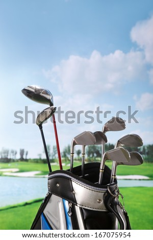 A shot of Golf clubs in bag
