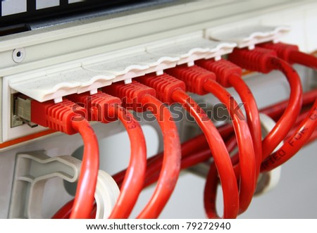 A shot of network cables in Data Center. UTP cables connected to a Patch Panel. Data Network Hardware Concept. RJ45 connectors.
