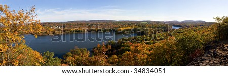 A shot of New England during early autumn foliage at its peak colors.