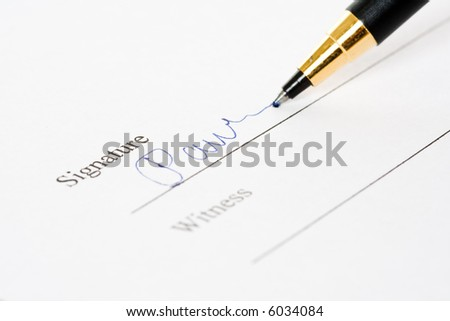 A shot of of a document signing