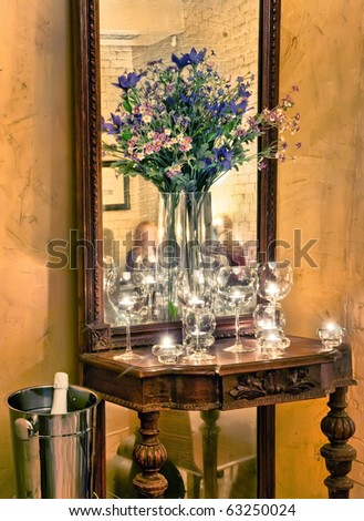 A shot of romantic dinner table in fine restaurant