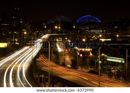 A shot of rush hour traffic in downtown Seattle
