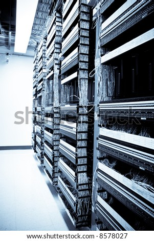 A shot of servers and hardware in an internet data center