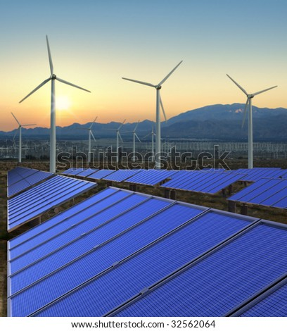 A shot of solar and wind power