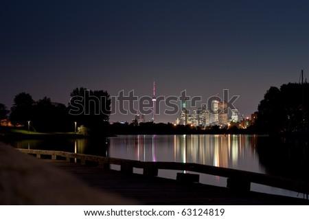 A shot of the Toronto Skyline at night from Ashbridge's Bay.